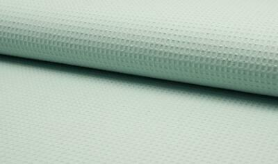 100% Cotton WAFFLE Honeycomb Pique Fabric Material - DUSTY MINT