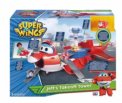 Super Wings Flugzeug Jett's Take off Tower Transformer Flughafen und Mini Jett