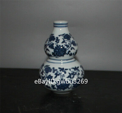Rare Chinese Blue and white porcelain Hand-painted flower Vase W Qianlong Marks