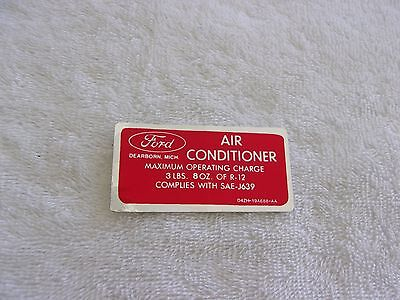 1971 - 1973 Ford Air Conditioner Charge Decal