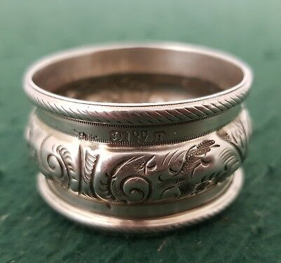 Antique HM 1900 John Pound Chester Solid Silver Round Embossed Napkin Ring