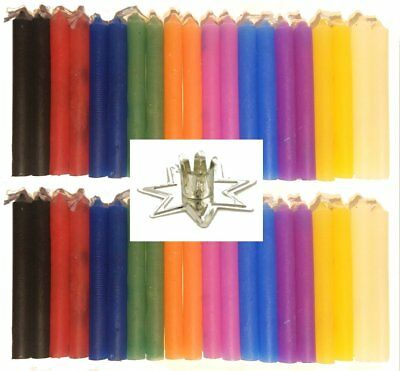 """LOT OF 40 Assorted Colors Chime Spell 4"""" Candles & 1 Silver Fairy Candle Holder"""