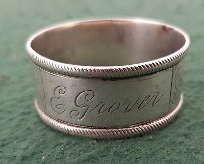 24.59g Antique Etched Silver Plated Round Napkin Ring Inscribed E Grover