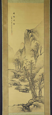 JAPANESE HANGING SCROLL ART Painting Scenery Sansui Landscape  #E9806