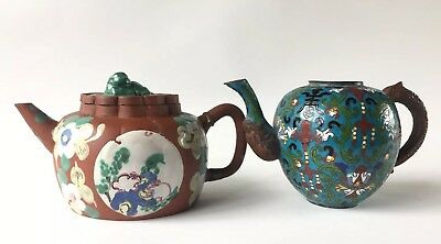 Two Antique 19th Century Chinese Teapots-Yixing and Cloisonné