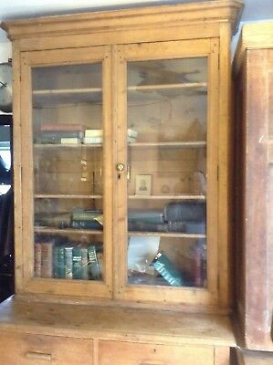 vintage  glass fronted bookcase with 4 shelves.