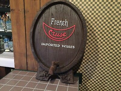 Vintage Cruse French Wine Faux Barrel Sign Advertising Display Imported Wines