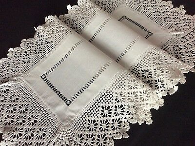 Lovely Antique Linen Table Runner ~ Drawn Thread Work/beautiful Lace