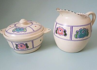 Honiton Pottery Lidded Pot and Jug Vintage Floral Design