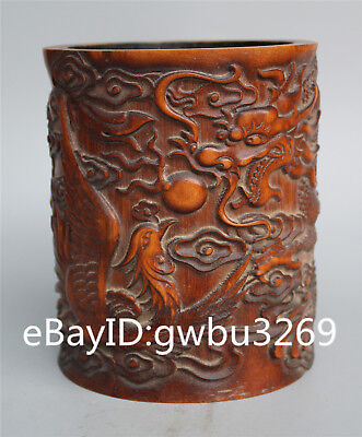 Asian Chinese Bamboo Pen holder Carved Hand Carved Dragon & Phoenix Brush Pot