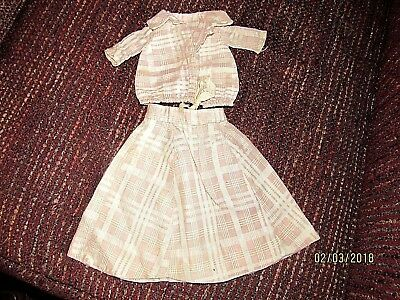 Antique doll skirt & blouse early fabric pale pink plaid old vintage dolls