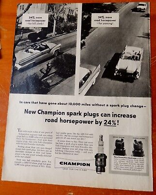 1955 Ford Fairlane Sunliner Convertible For Vintage Champion Spark Plugs Ad