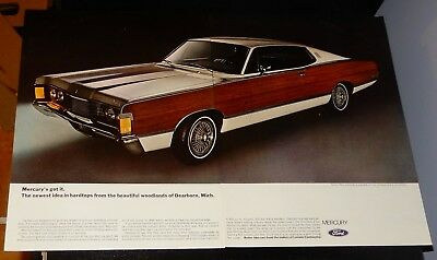 1968 Mercury Park Lane Coupe With Wood Sides Large Ad - Classic American Woody