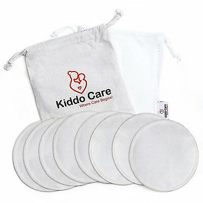 Washable Hypoallergenic Reusable Organic Bamboo Nursing Pads 8 PACK 4 Pairs Whit