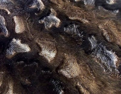 Super Luxury Faux Fur Fabric Material - DARK BROWN COW MIX