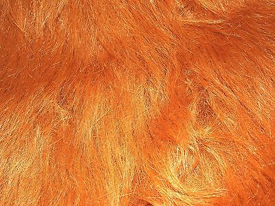 LONG Pile Fun Faux Fur Fabric Material CHESTNUT BROWN