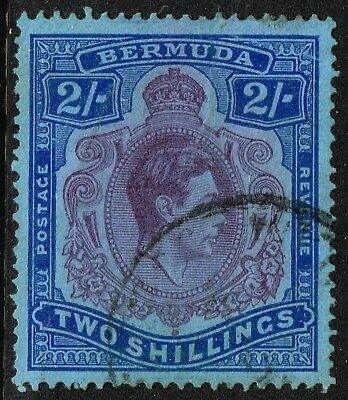 SG 116d BERMUDA 1943 – 2/- PURPLE & DEEP BLUE/PALE BLUE – USED