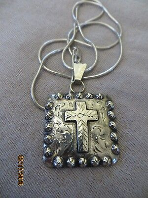 Cowboy/Cowgirl A.Western Tack Cowperson Cross pendant /925 snake chain 23""