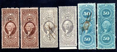 US Revenue First Issue Scotts #R52 #R53 #R54 Very-Fine Condition