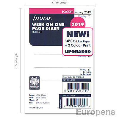 Filofax Pocket size 2019 Week On One Page (to view) Diary Refill Insert 1968226
