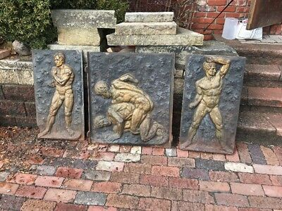 Antique Three-Piece Fireback Lennox Hotel Strongman Wrestlers