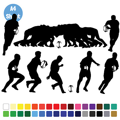 8 Rugby Silhouette Stickers Set Vinyl Wall Art Name Bumper Window Laptop