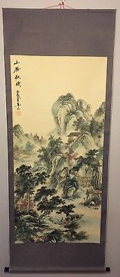 Chinese Landscape Mountain Scene Watercolor Scroll Painting Signed
