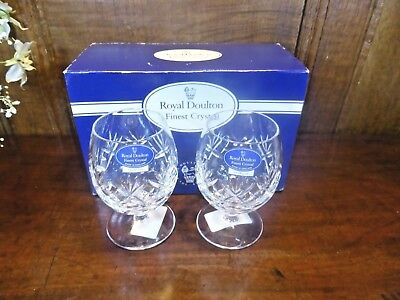 "RARE BOXED UNUSED Doulton CRYSTAL ""GEORGIAN"" pair MINI BRANDY GLASSES - 3 7/8"""