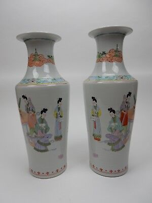 """Large Pair of  Chinese Famille Rose Mirror image vases 17.5"""""""