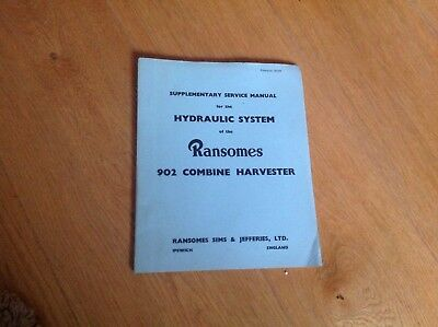 Vintage Collectible Ransomed 902 Combine Harvester Service Manual