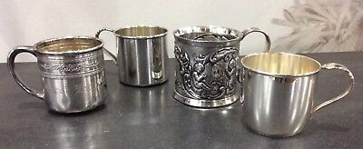 Child's Silverplate Four (4) Baby Cups Shower Decorations Vintage. Whimsical