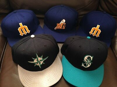 Lot Of 5 Vintage New Era Fitted Wool Hat Cap Seattle Mariners Size 7 3/8 US Made