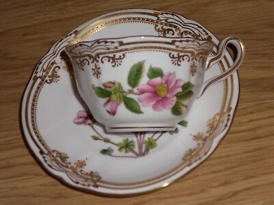 "Spode China Stafford Flowers England Teacup & Saucer Y8519 1St, Q"" Eng. Lot1"
