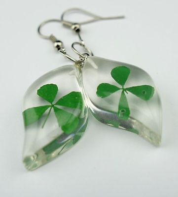fashion jewely clear green four leaf cloverclear mini  leaf earring mm01