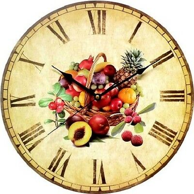 Wall Clock Duve 141310-F Wood Round Inches 13.77 Quartz Old England Fruit
