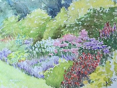 Small, exquisite watercolour of flowerbed.