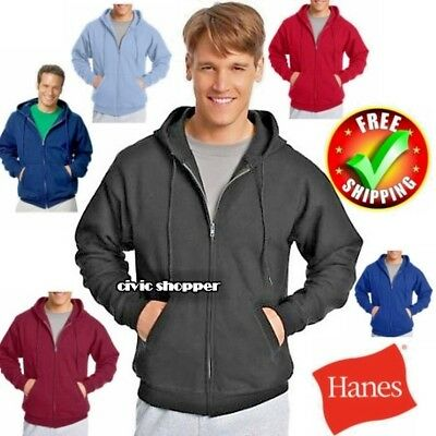 Hanes Comfort Blend Full Zip plain Hoodie sweatshirt pocket mens hood zipper