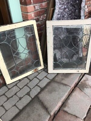 Sg 1945 2 Available Priced Each Antique Beveled Leaded Glass Window 23 x 28.5
