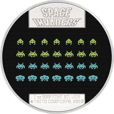 2018 Niue 1 oz Silver $2 Space Invaders 40th Anniversary - SKU#162458