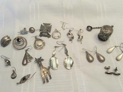 Nice Lot of  Estate Sterling Silver Earrings and Misc 98g