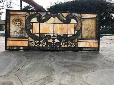 antique vtg church stained glass window