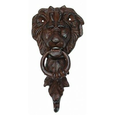Awesome Lion Head Cast Iron Door Knocker,antique Brown Finish,5'' X 11''h.