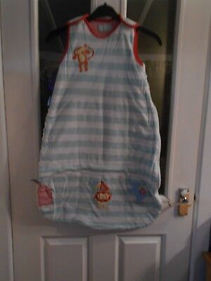 Grobag Green & White Striped With a Circus Theme. Size.6/18 mths & 2.5 tog