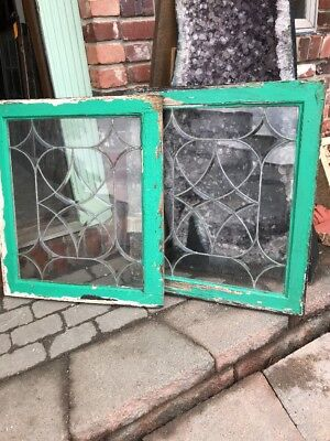 Sg 1948 Match Pair Antique Four Point Beveled Leaded Windows 23.75 X 28.5