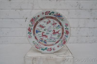 Chinese Qianlong Famille Rose Horses Plate.
