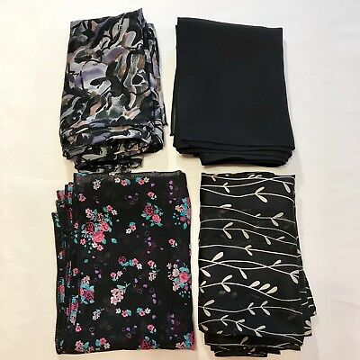 4 Scarves Oblong Black Floral Flower Solid Poly Hand Rolled Silk Vtg Scarf Lot
