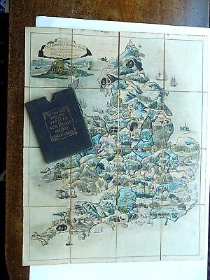 c1850 Wallis Picturesque Produce Map Game England Wales Old Antique SCARCE