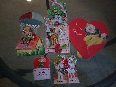 Vintage Lot of 5 1920s Antique Printed Valentine's Day Cards