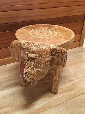 """New Handcrafted Wooden Lucky Elephant Stool Chair Small Decor Accent Table 15"""""""