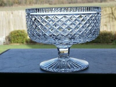"""Irish Tyrone Crystal 7"""" Carrickmore Footed Bowl  STAMPED Excellent Condition"""
